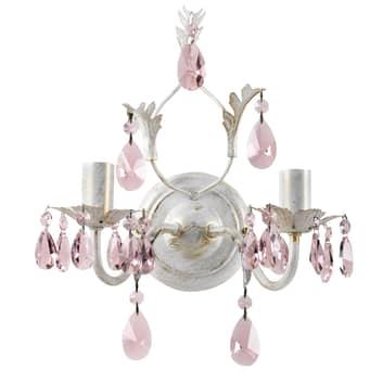 Seinävalo Kate 2-lamp., valk., roosat kristallit