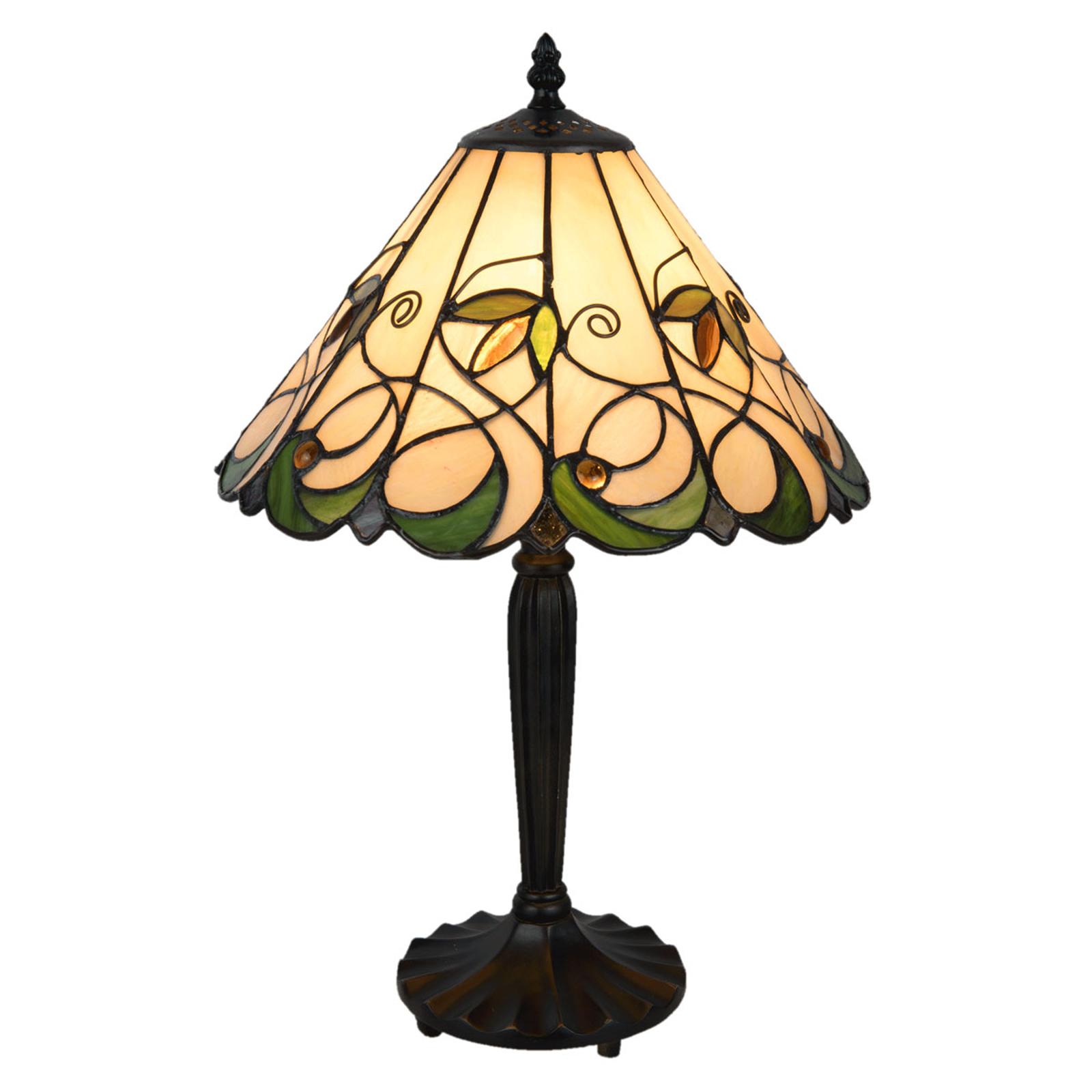 Bordlampe 5207 i tiffanystil, cremegrøn