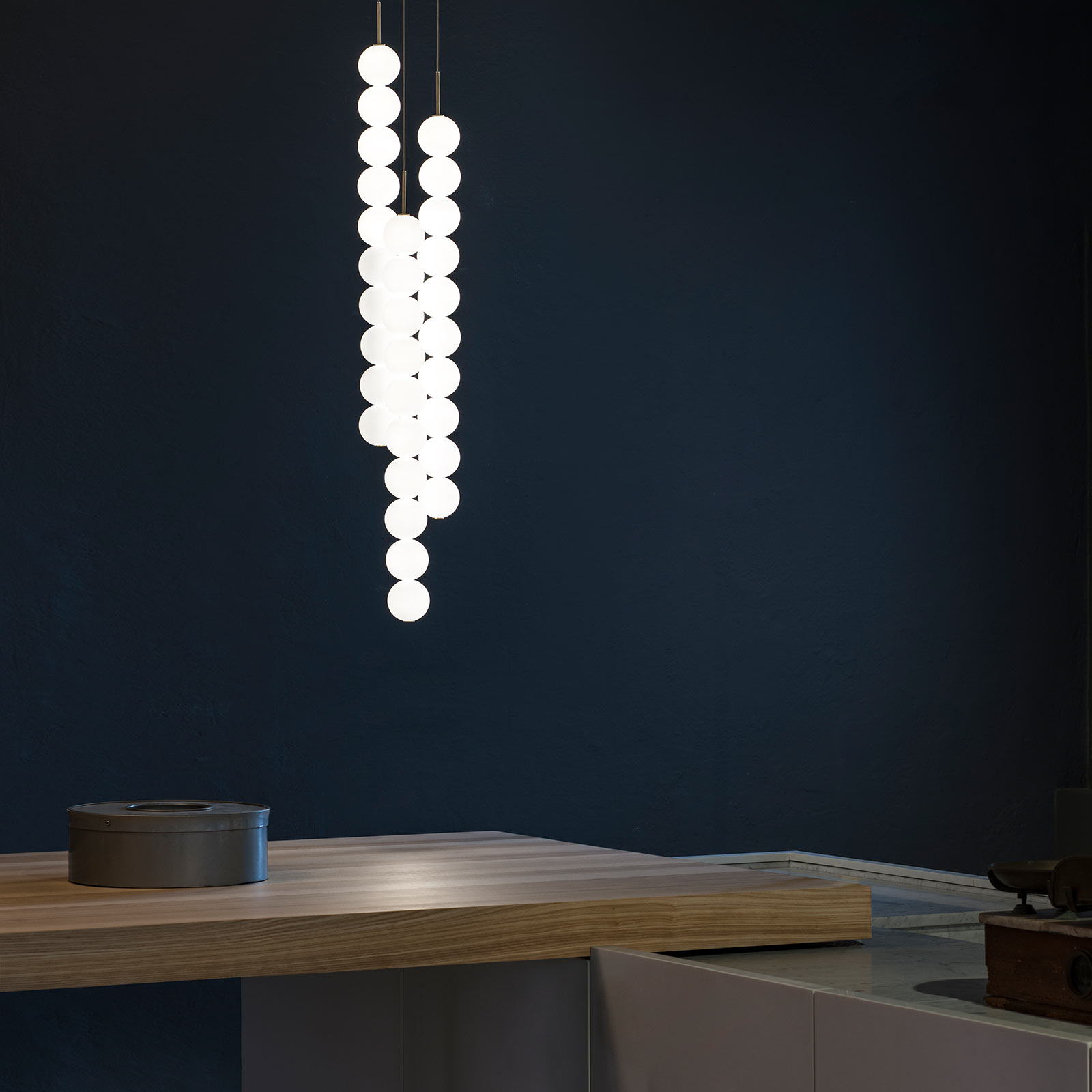 Terzani Abacus hanglamp, messing, 3x10 ballen