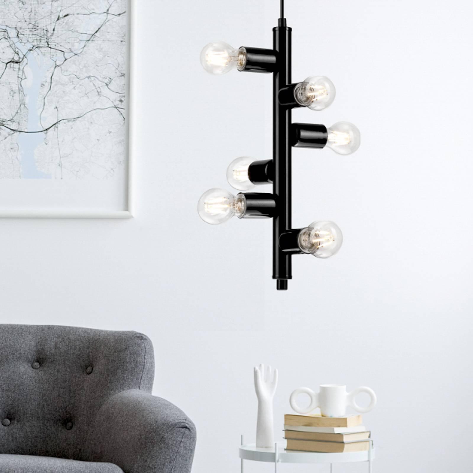 Hanglamp Form met 6 fittingen, zwart