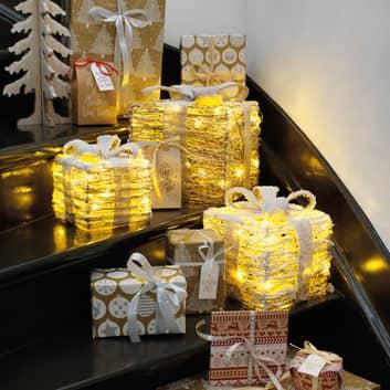 LED-Geschenkbox Lumineo Objects 3er natur/Schnee