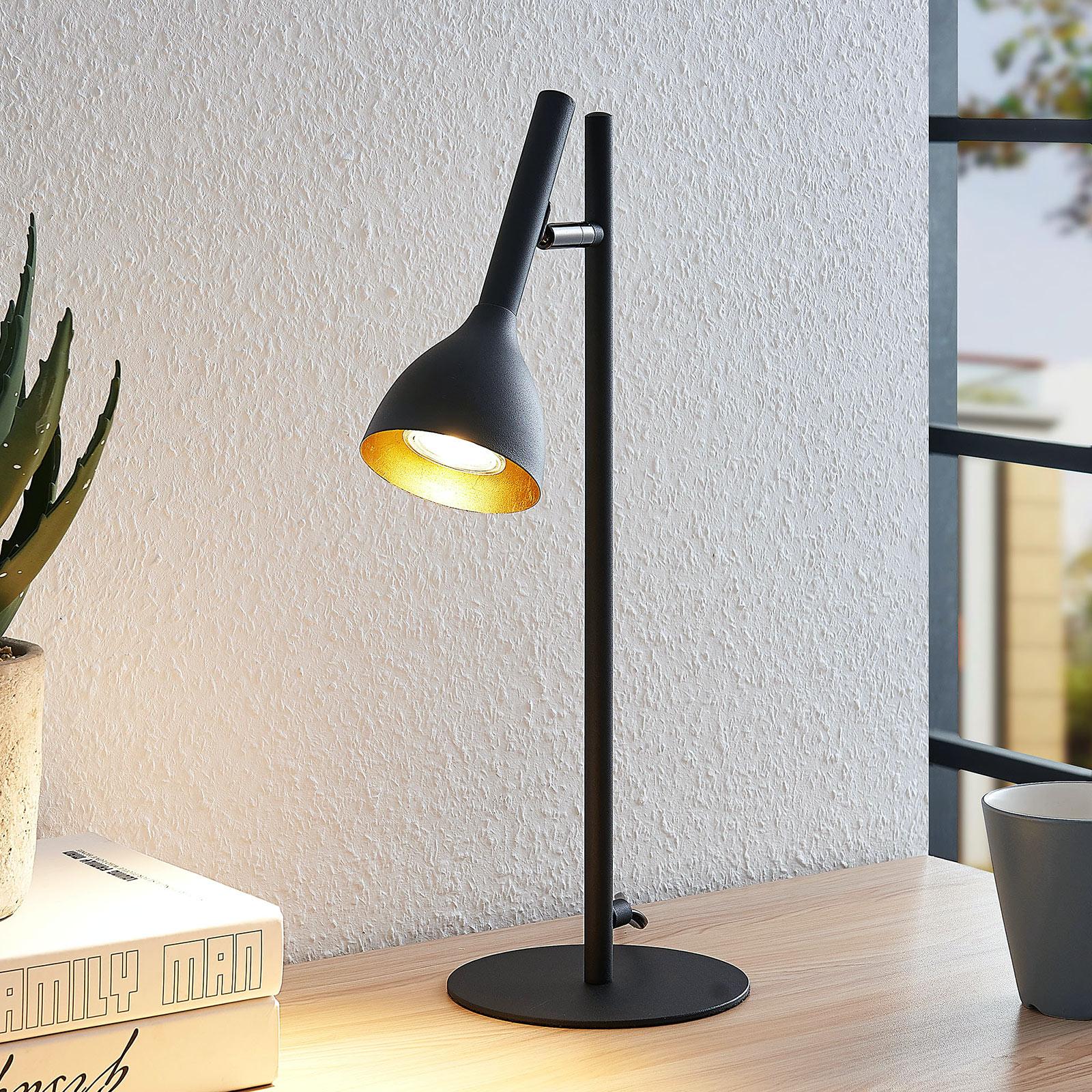 Tafellamp Nordwin uit metaal, zwart-goud