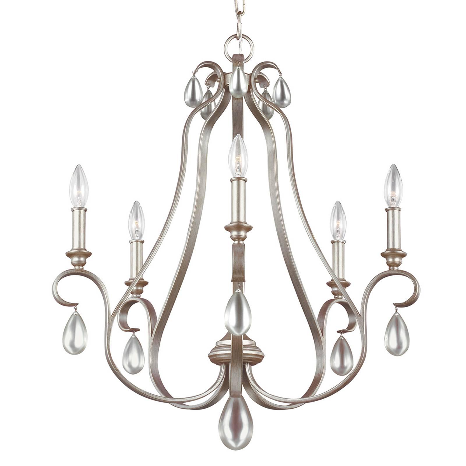 Kroonluchter Dewitt 5-lamps met zilveren afwerking