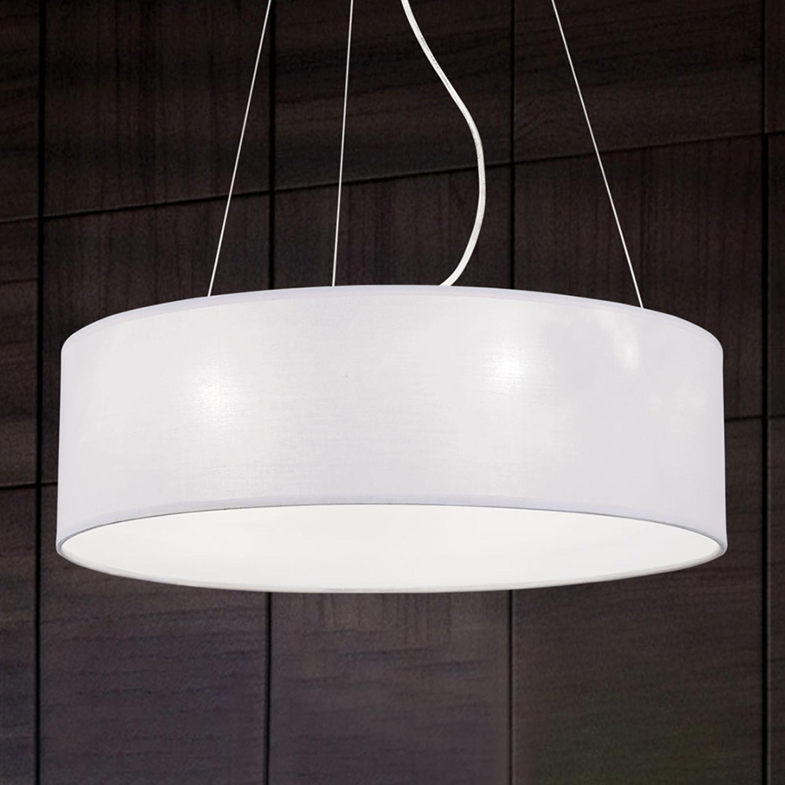 Okrągła lampa wisząca Ufo z tkaniny, biały klosz