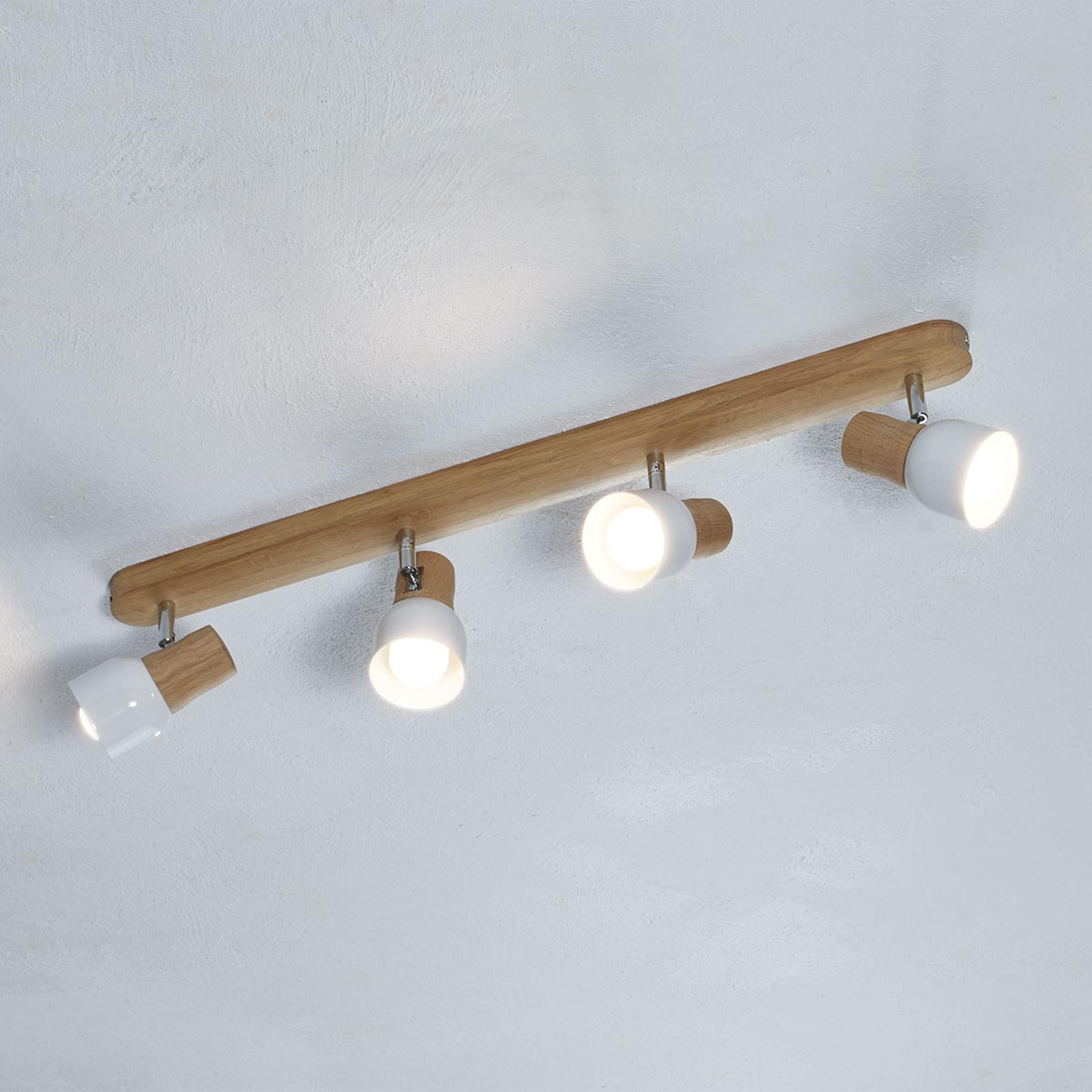Lampa sufitowa Svantje z elem. z drewna dębowego