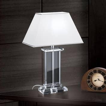 Bordslampa Veronique, fot bred, vit/krom
