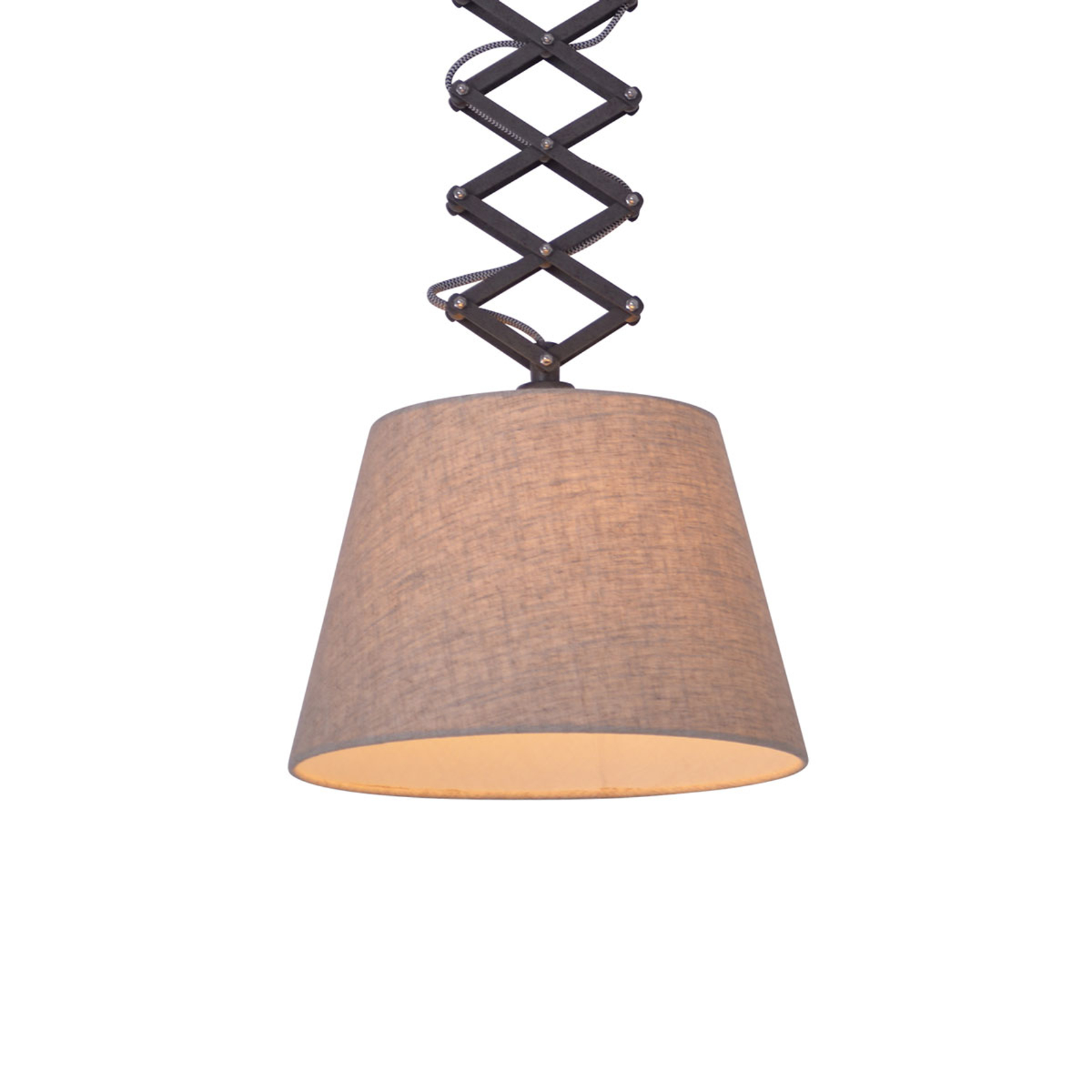 Textiel-plafondlamp Adrienne in hoogte verstelbaar