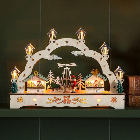 LED vánoční oblouk dům a chlapec