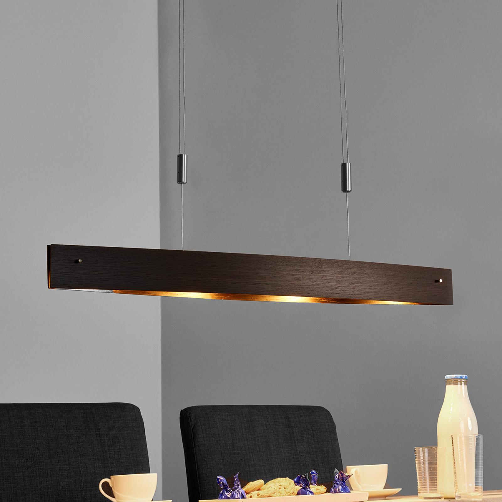 Sierlijke houten LED-hanglamp Malu - in hgte verst