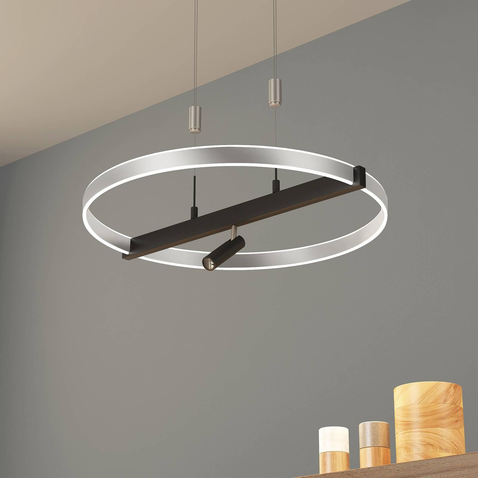 Lucande Matwei LED hanglamp, ringvormig, nikkel