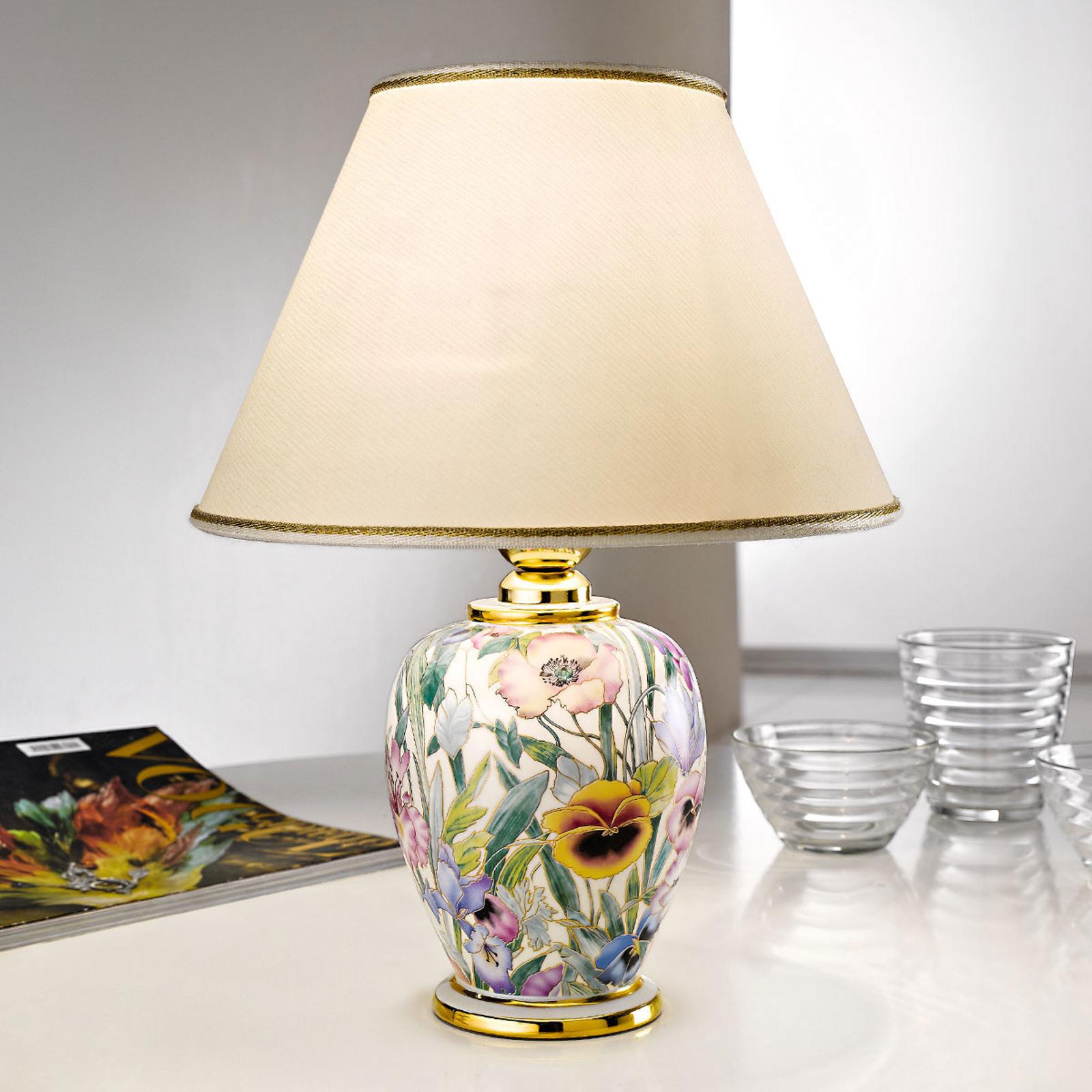 Tafellamp Giardino Panse, bloemenprint, Ø 25 cm