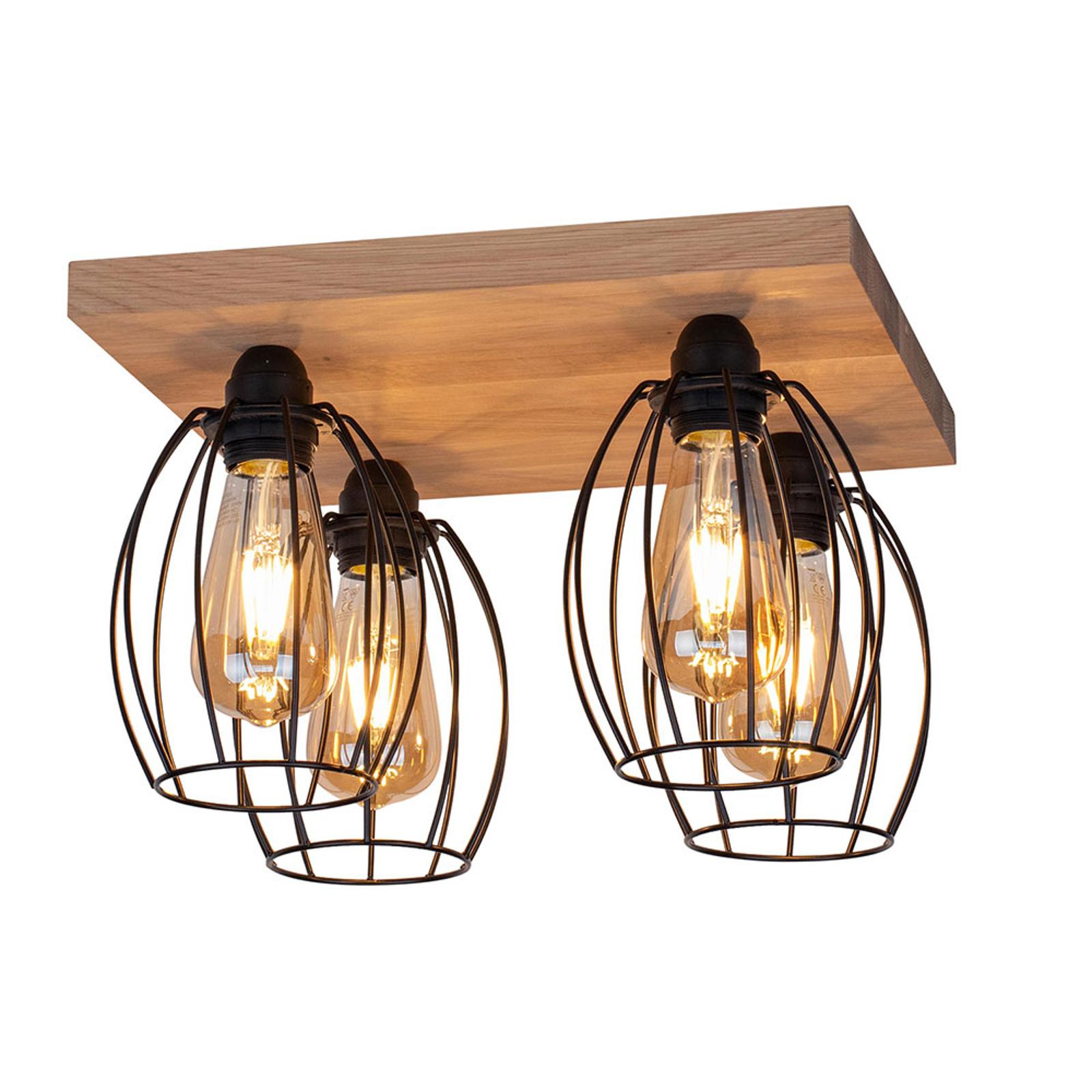 Plafondlamp Beevly, hout en metaal, 4-lamps