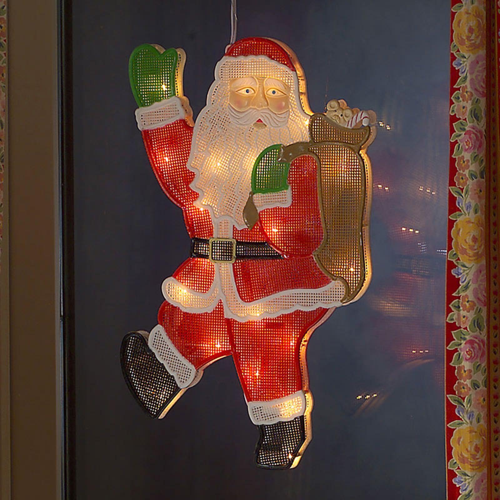 Vindusbilde Julenisse med LED 20 lys