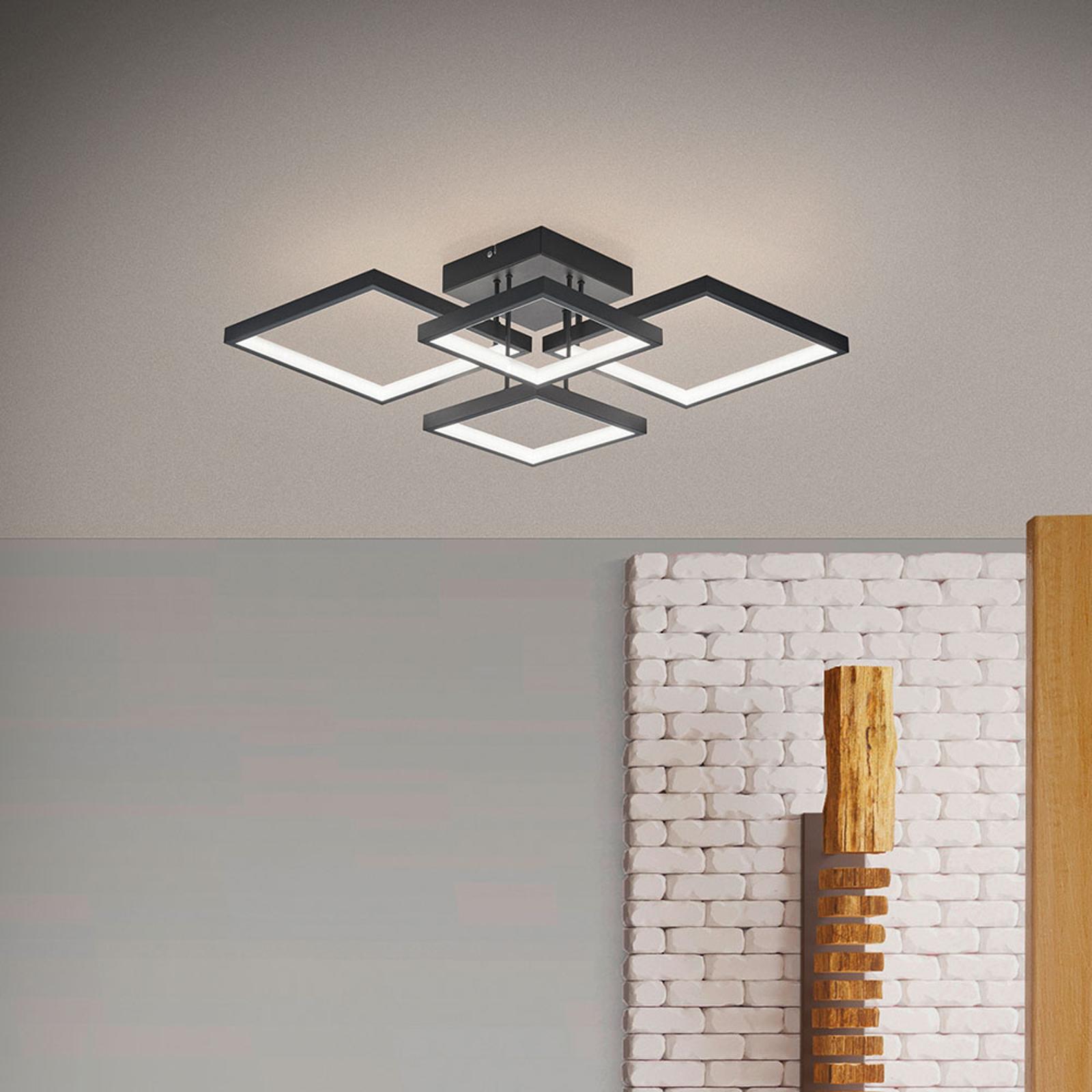 LED-taklampe Sorrento 52x52cm, matt svart