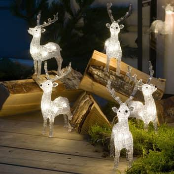 LED-Leuchtfiguren Rentier für außen, 5er-Set