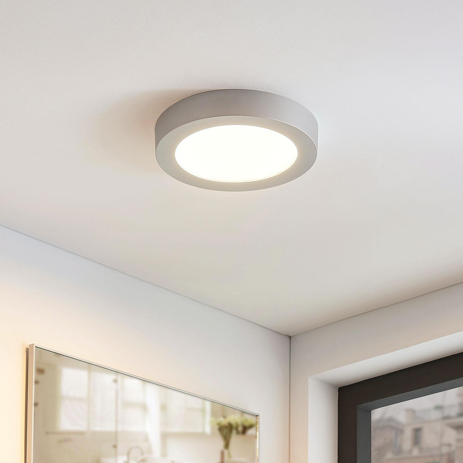 Plafonnier LED Marlo argenté 3000K rond 25,2cm