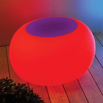 Stół BUBBLE, światło LED RGB i fioletowy filc
