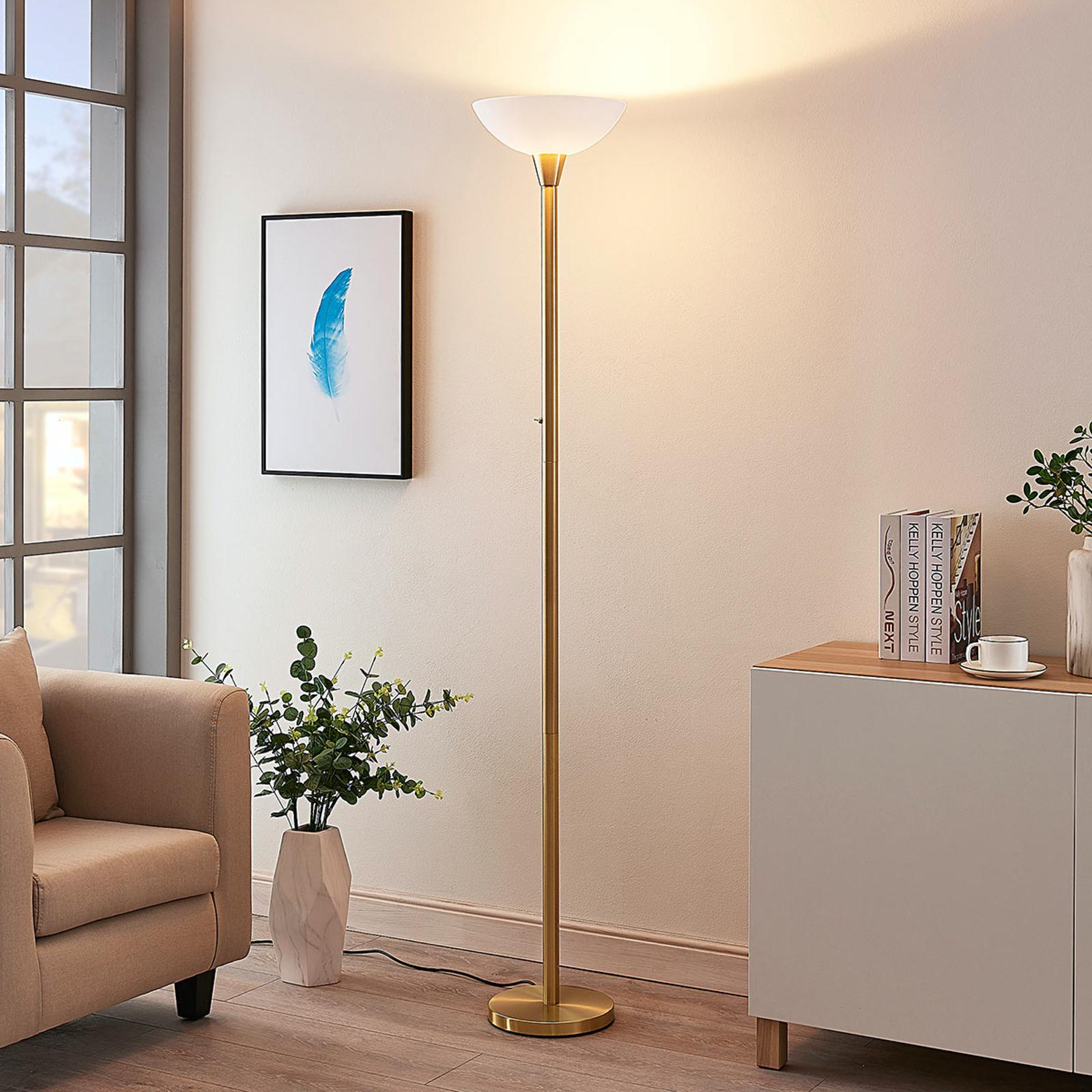 Mässingsfärgad uplight-golvlampa Ignacia