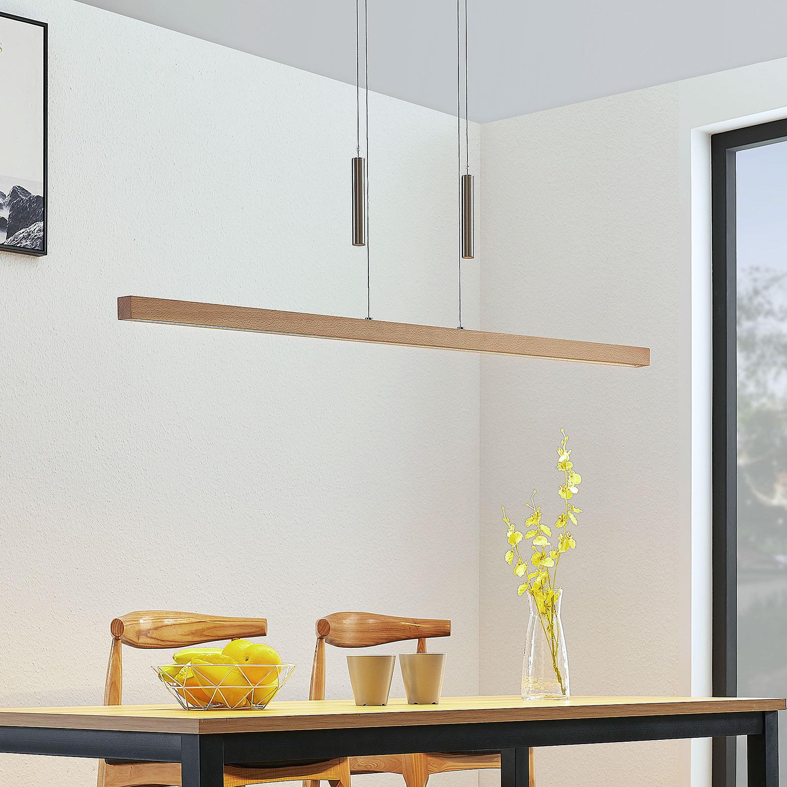 LED-Holz-Balkenpendellampe Tamlin, buchefarben
