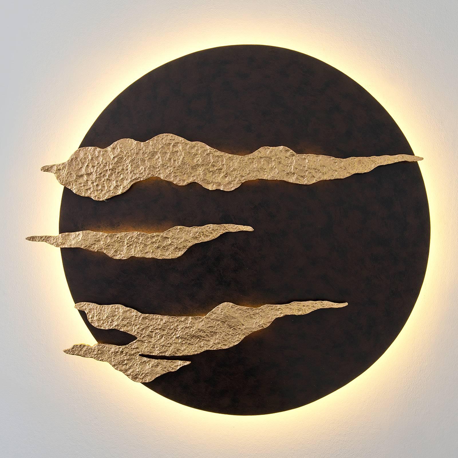 Applique murale LED noire et dorée Firmamento