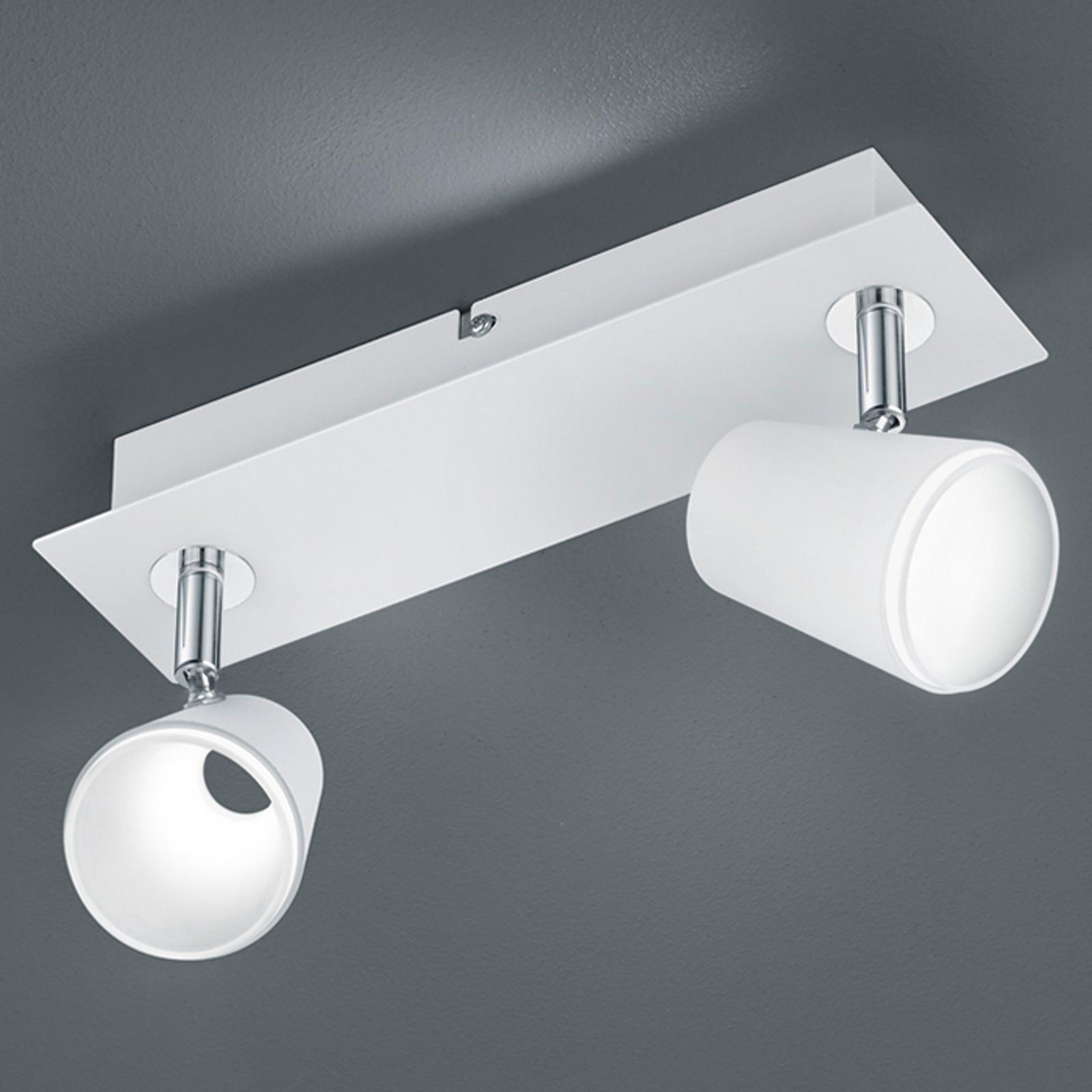 Hvit-kromfarget LED-vegglampe Narcos, 2 lys