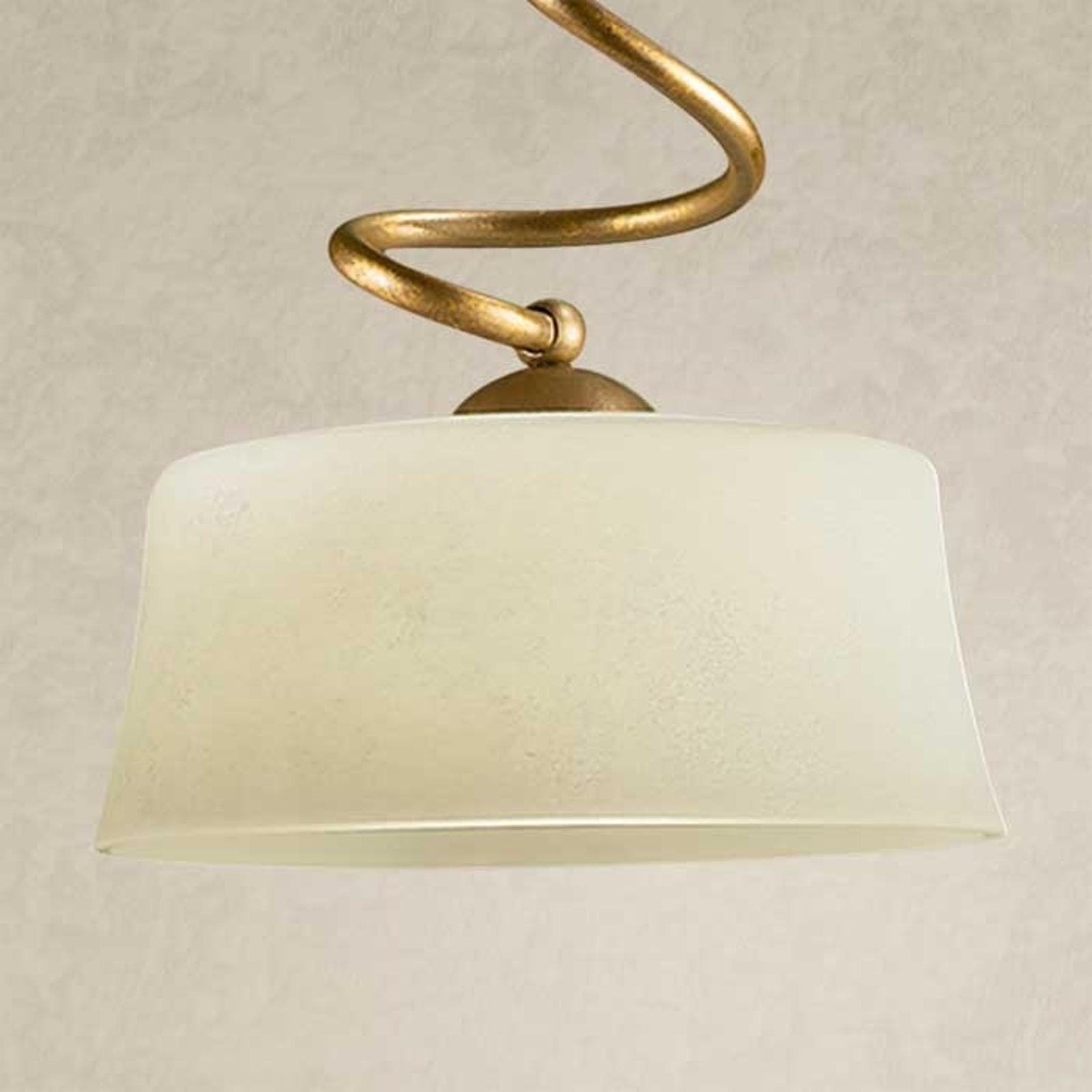 Lampada a sospensione Alessio 1 luce, vetro scavo