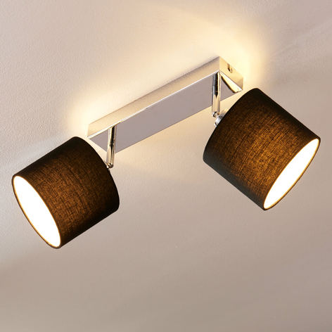 Mooie textiel plafondlamp met E14 ledlampen
