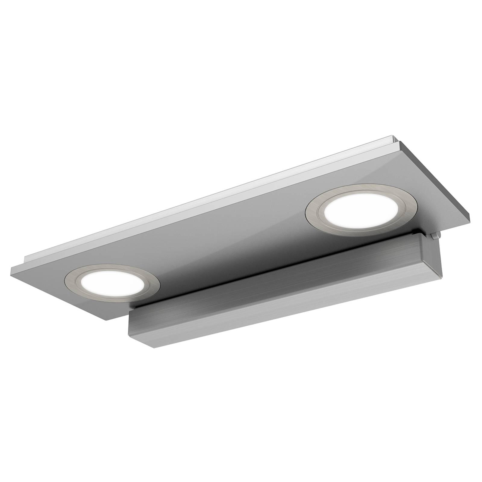 Zweiflammige LED-Wandleuchte Pano, metallic