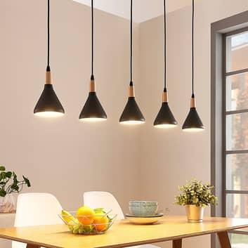 Lampada LED a sospensione Arina, 5 paralumi neri