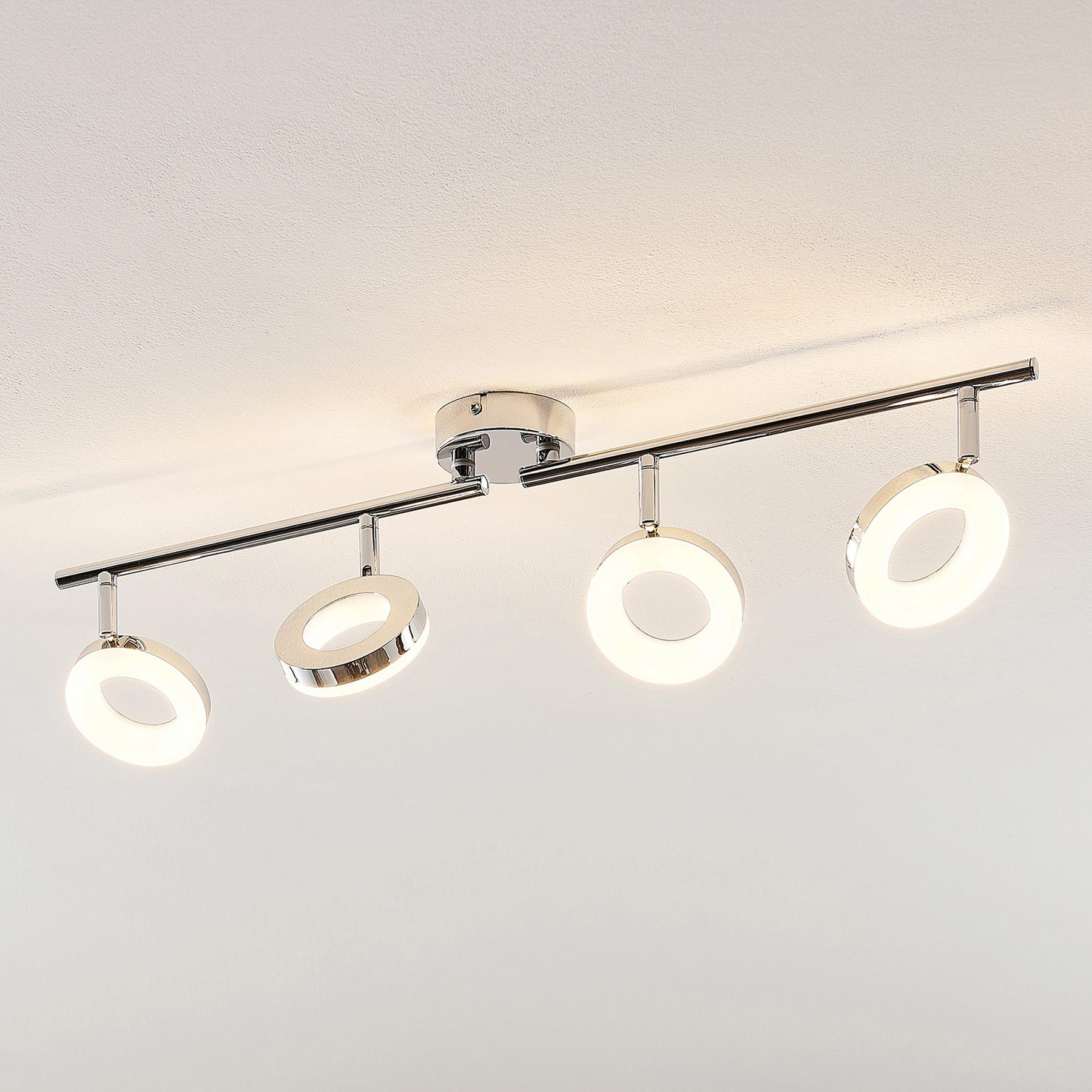 ELC Tioklia LED plafondlamp, chroom, 4-lamps
