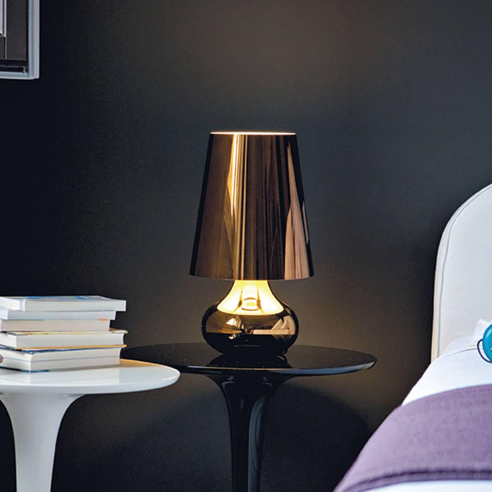 Lampada da comodino Cindy a LED, grigio metallico