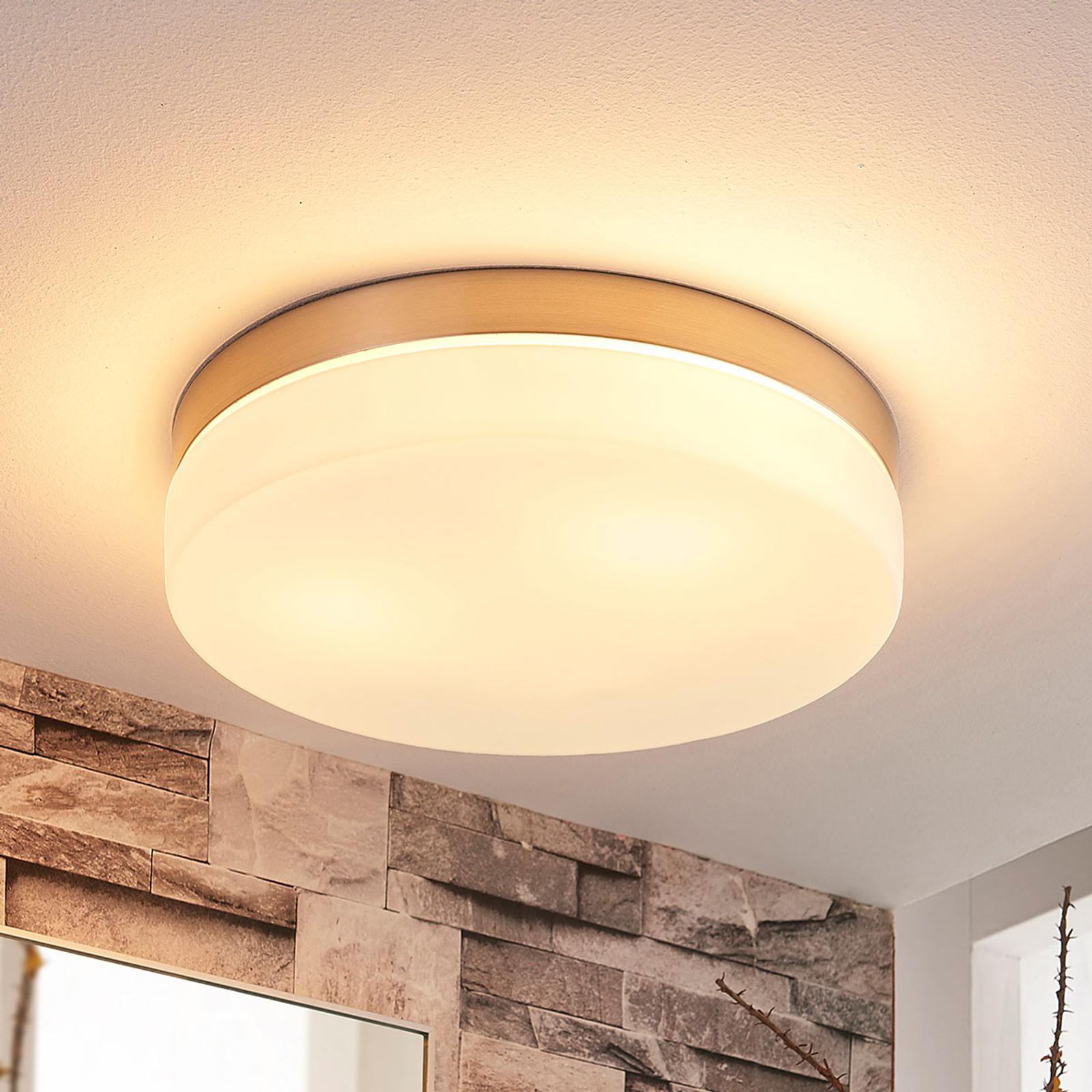 Witte plafondlamp Amilia met nikkel frame, IP44