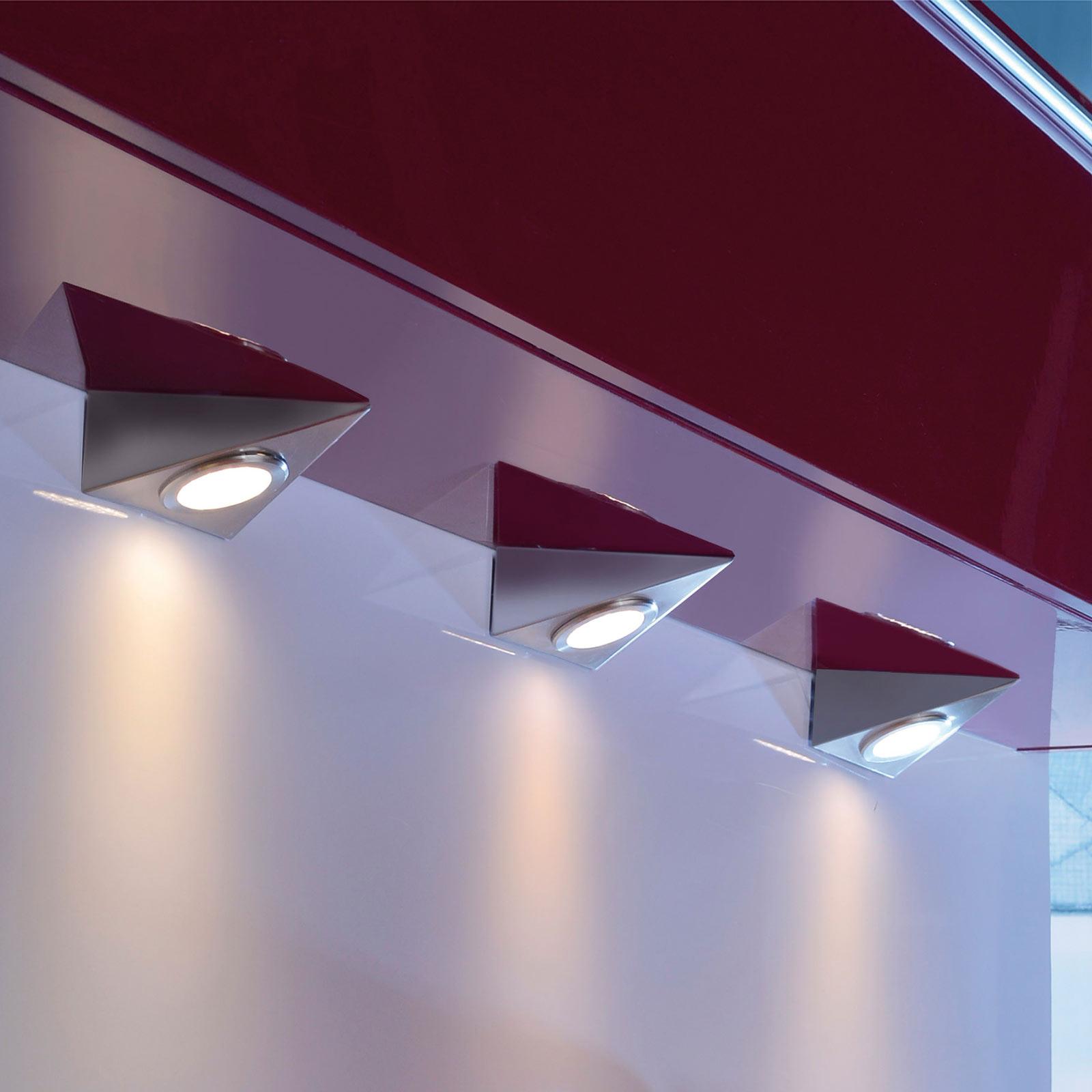 LED-underskabsbelysning Helena, trekant, sæt med 3