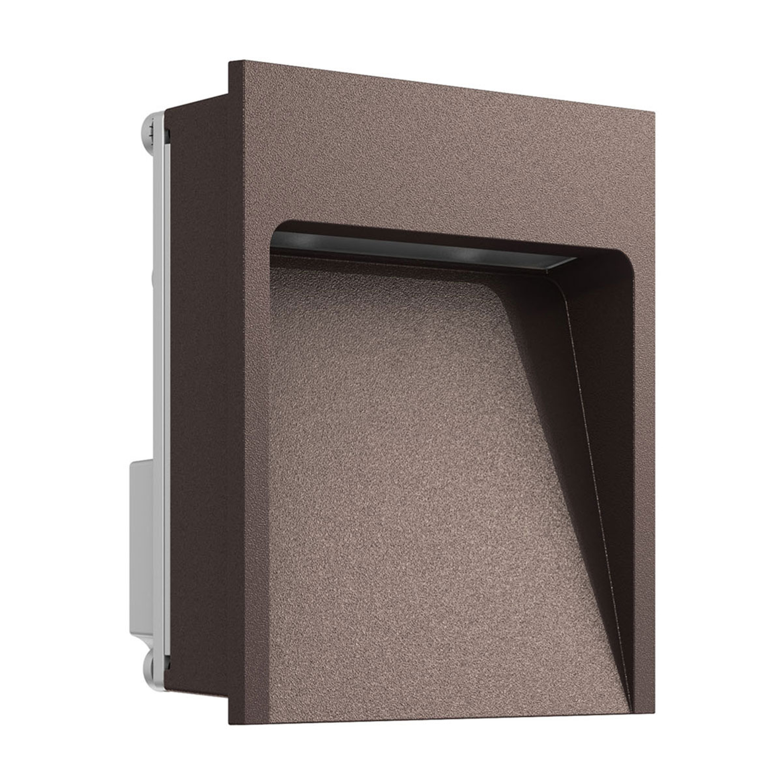 Lille LED vægindbygningslampe My Way, mørkebrun