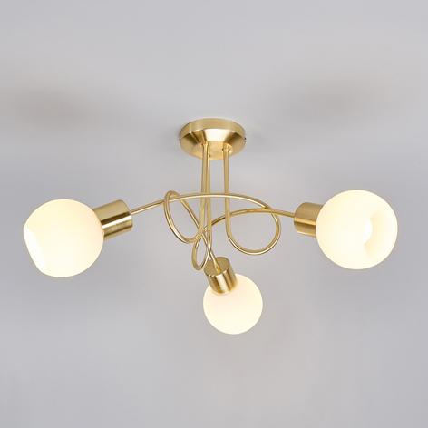 Mässingfärgad LED-taklampa Elaina, 3 ljuskällor