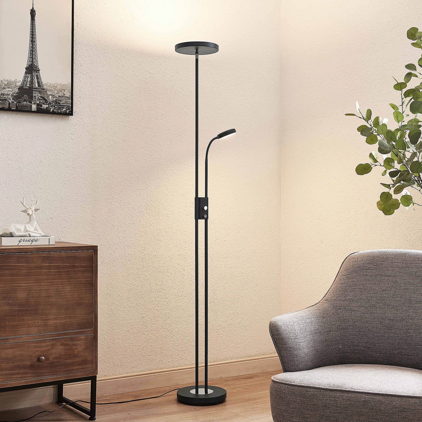 Lindby Seppa lampadaire LED, rond, noir
