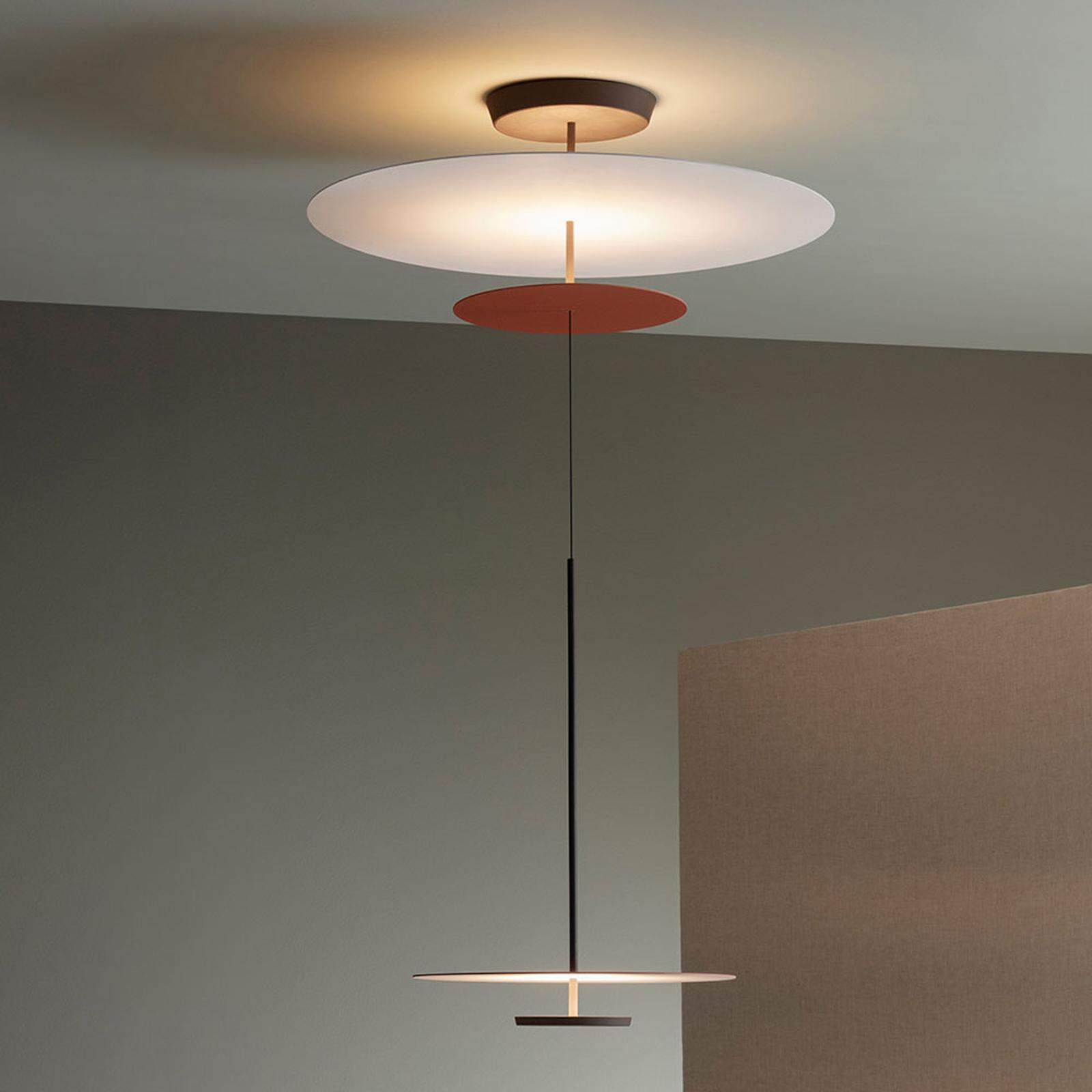 Vibia Flat LED-Hängelampe 3-flg. Ø 90cm terracotta