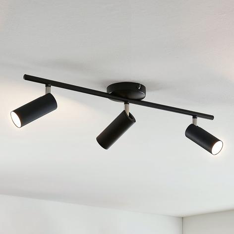 Lindby Camille LED-Deckenleuchte, schwarz, 3-fl.