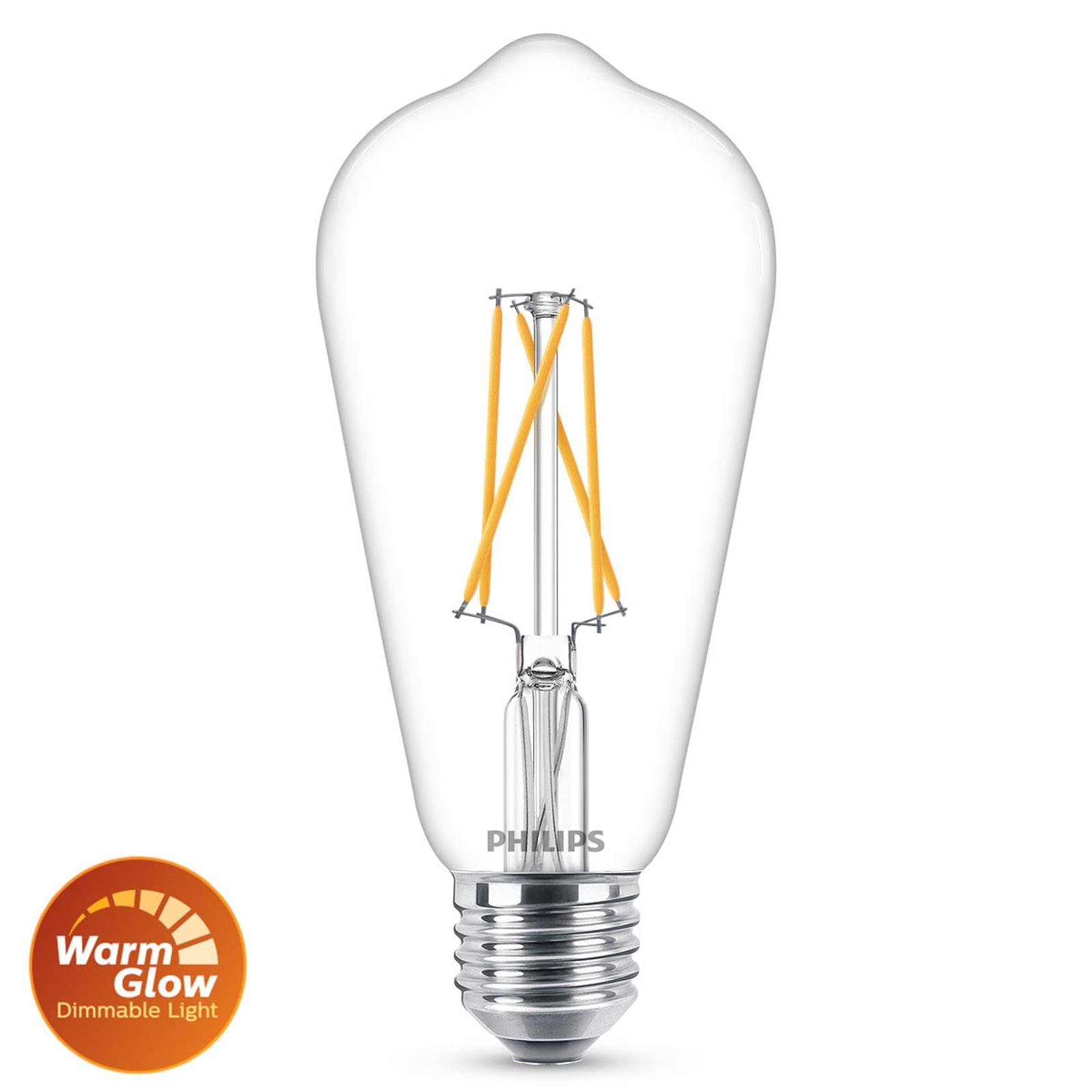 Philips Warmglow E27 LED-pære Rustika 6 W klar