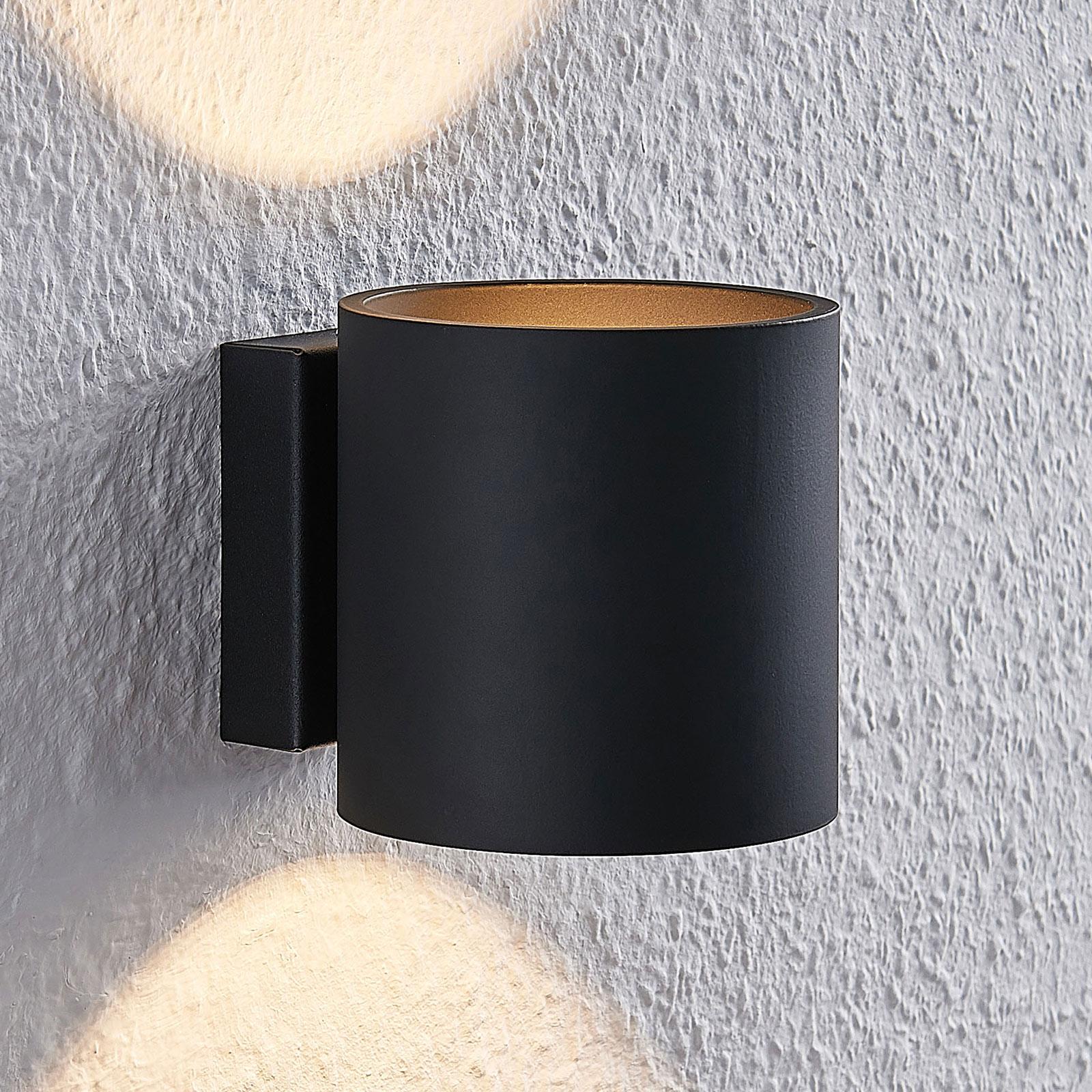 Lindby Mirza Aluminium-Wandleuchte, rund, schwarz