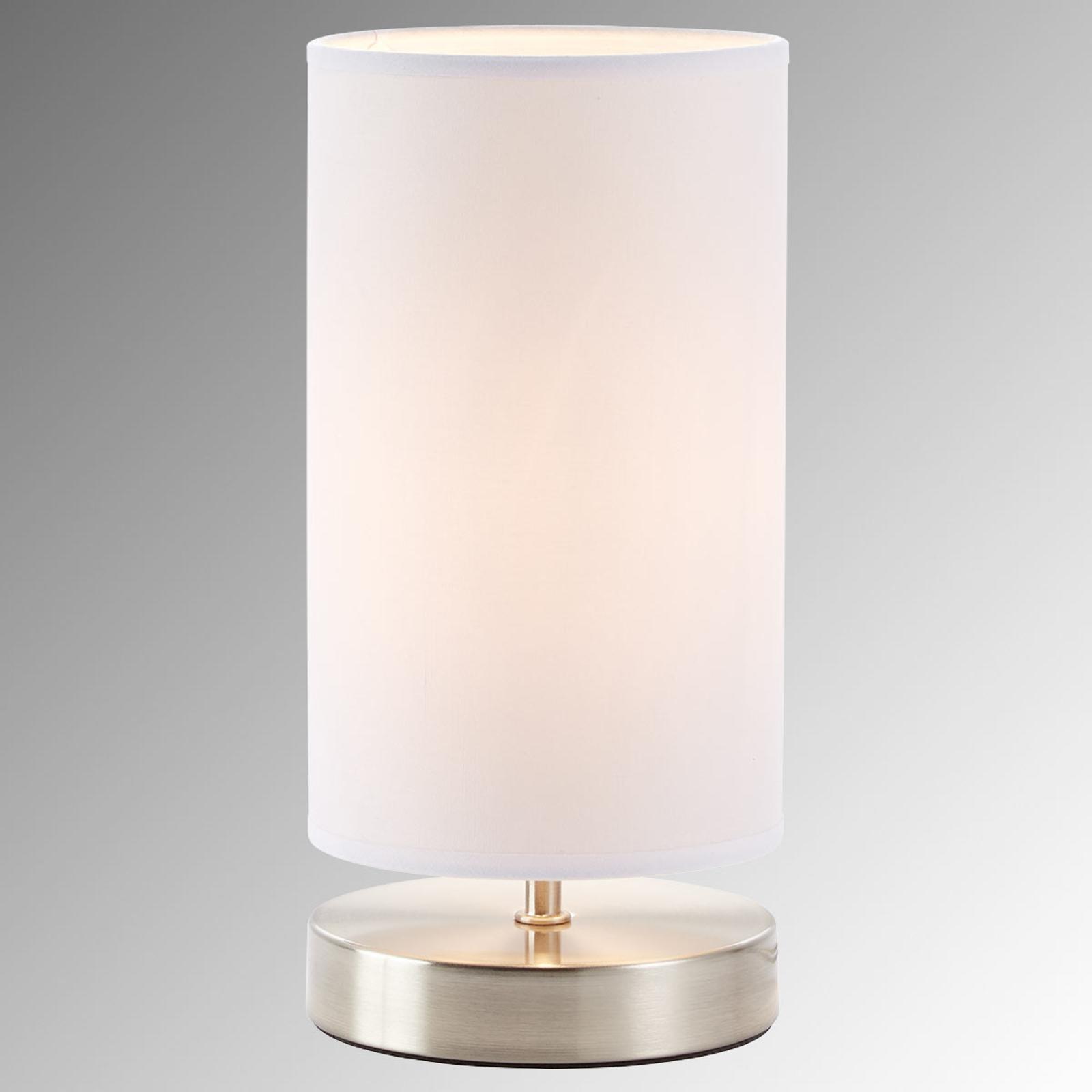 Biała tekstylna lampa stołowa Clarie