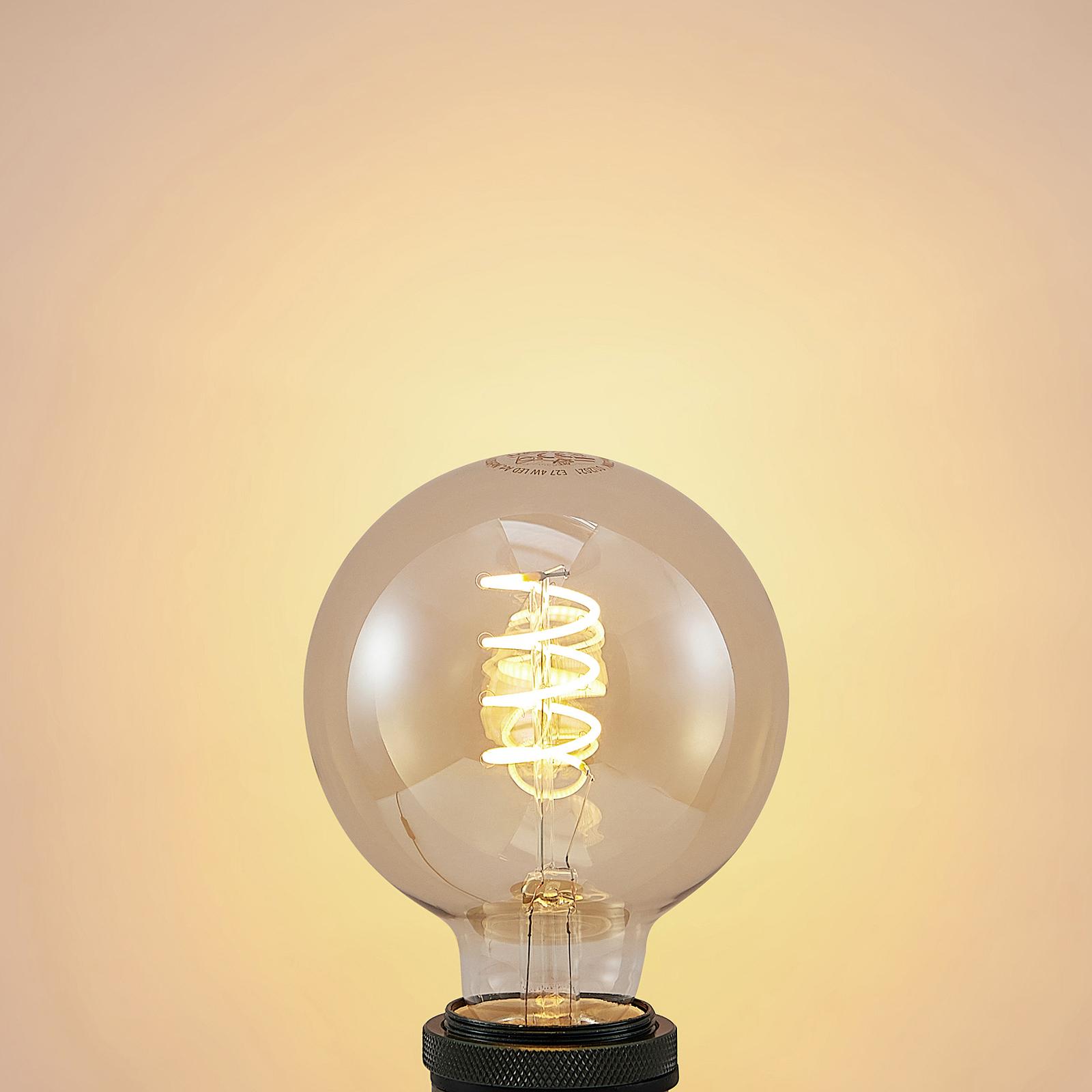 Lucande LED-pære E27 G95 4 W 2200K dimbar rav