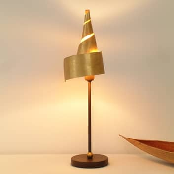 Gylden ZAUBERHUT bordlampe med metalskærm