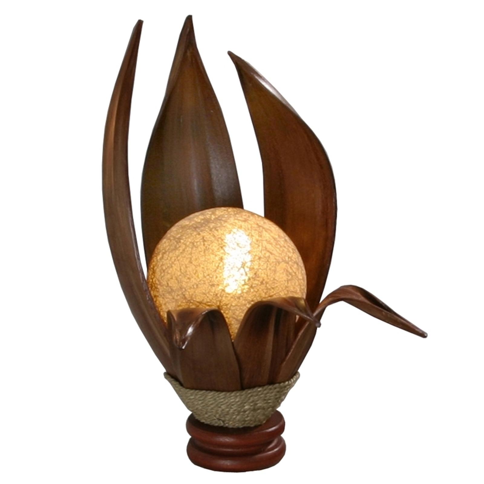 Tafellamp Karima van geharde kokosnootblaadjes