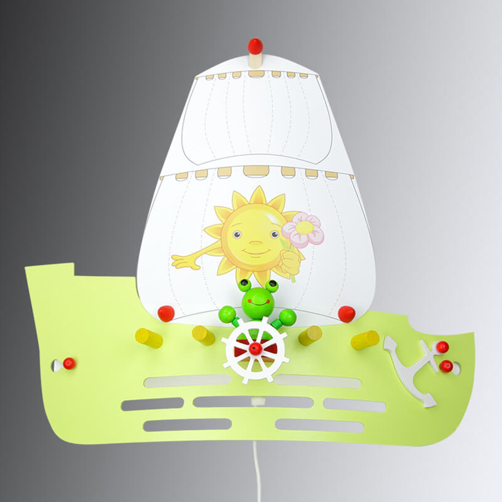 Vägglampa Groda i form av ett segelfartyg