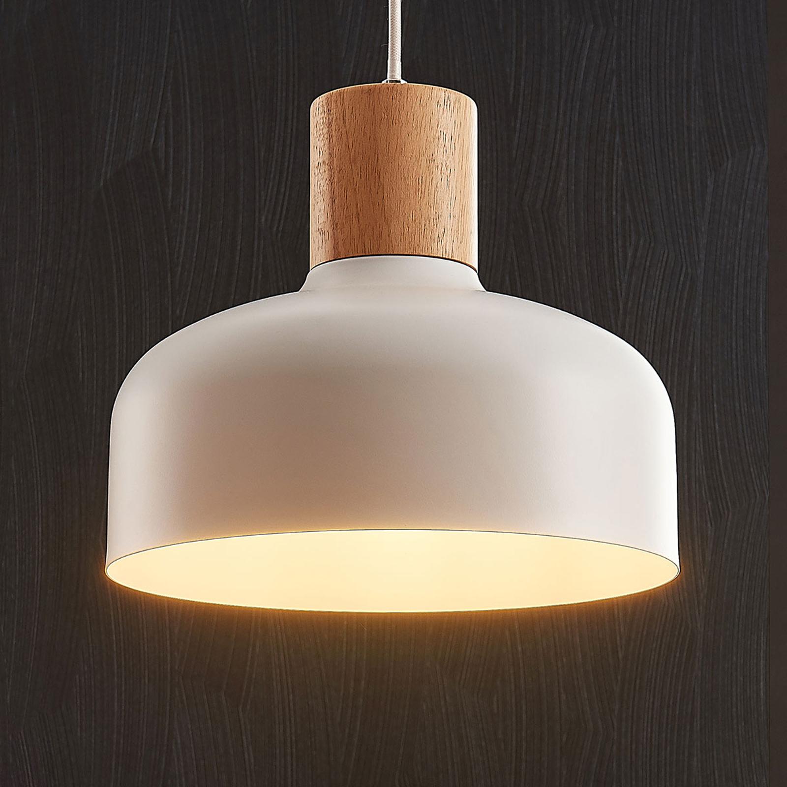 Lampa wisząca Carlise z elementem drewnianym