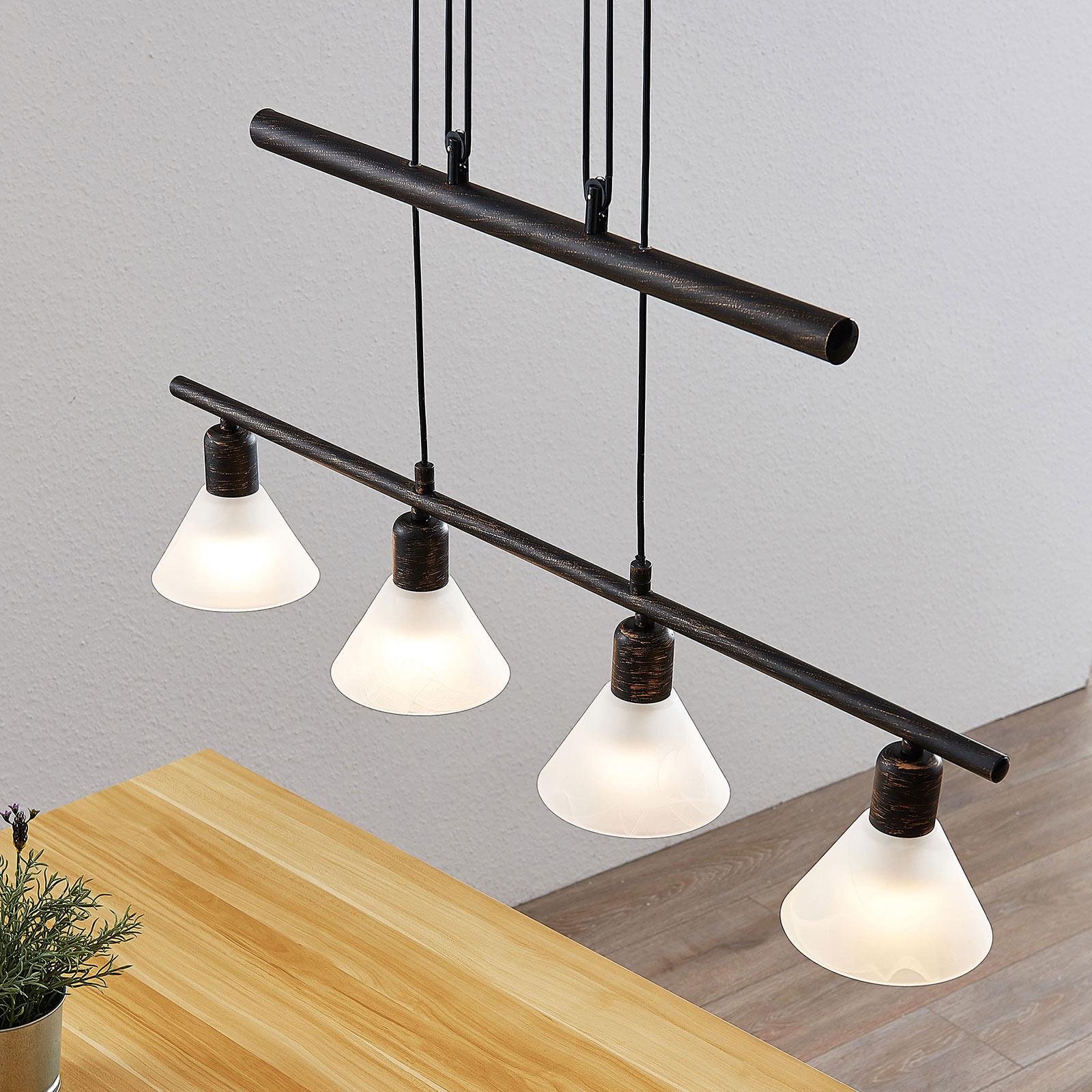 Lámpara colgante Delira 4 luces, negro, regulable