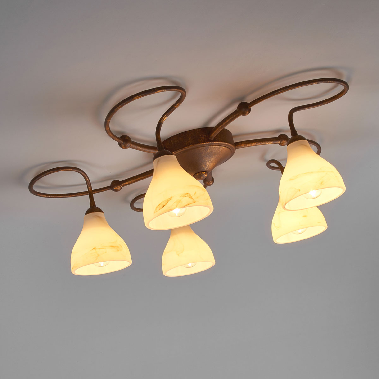 Plafonnier rustique Mattia à 5 lampes