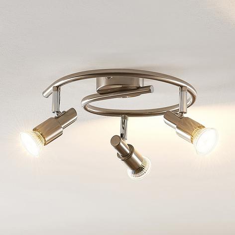 ELC Farida lámpara LED de techo, níquel, 3 focos