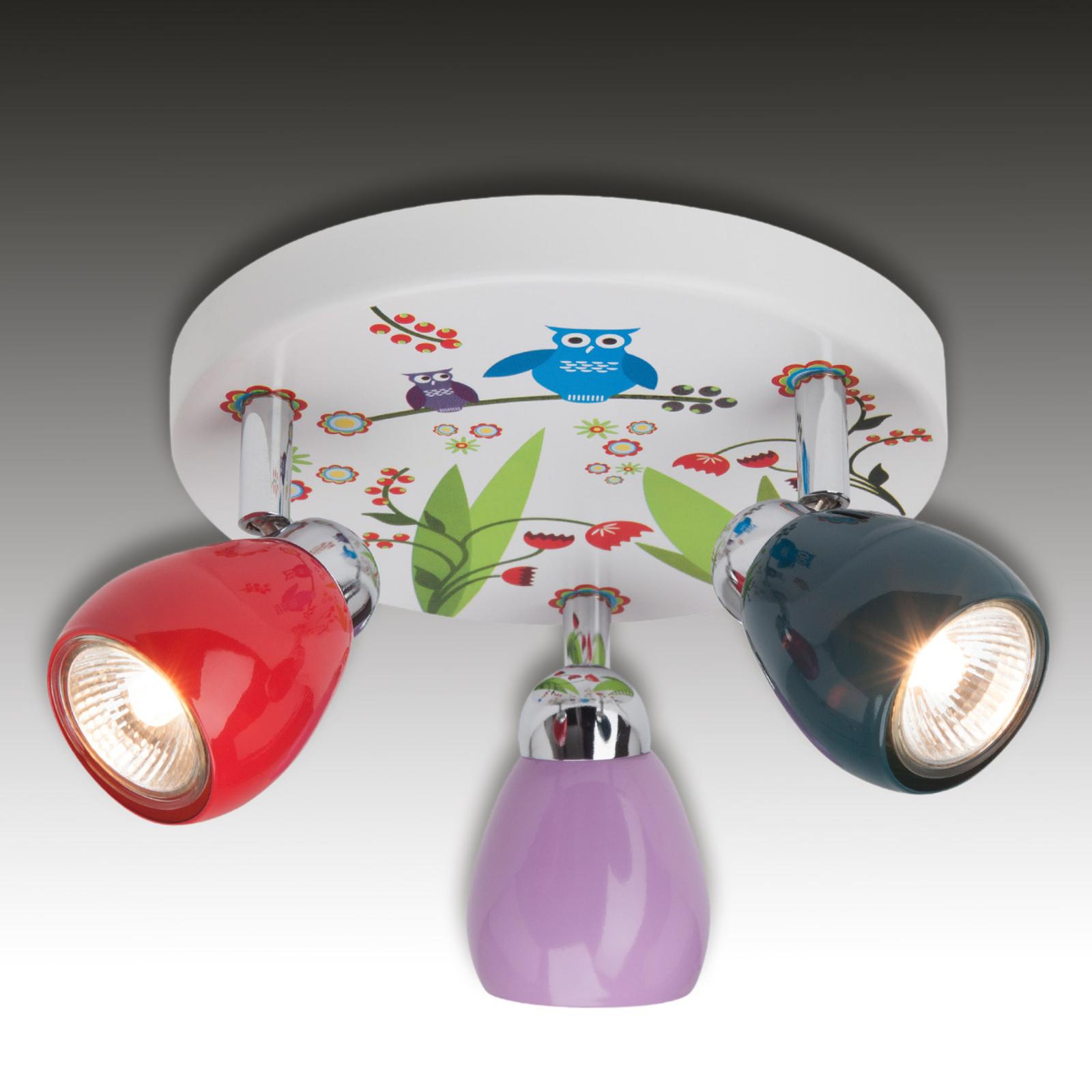 Birds-LED-kattovalaisin, kolmilamppuinen